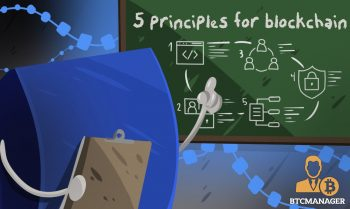 Blockchain Five Pointing at a Whiteboard with Five Principles on ir blue green