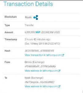 Bittrex transfers 6,999,999 XRP to Upbit amid Ripple's alleged report discrepancies
