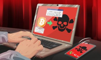 A bitcoin scam happening on a laptop and smart phone skull and crossbones