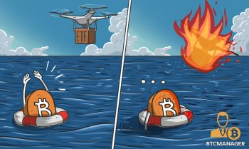 Bitcoin drowning, lifebuoy on fire