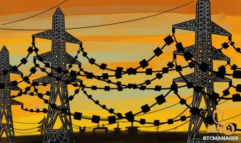 Blocks on a chain between large electrical wire polls. Orange sunrise/sunset background Japan's Energy Sector Moves to Adopt Blockchain Technology